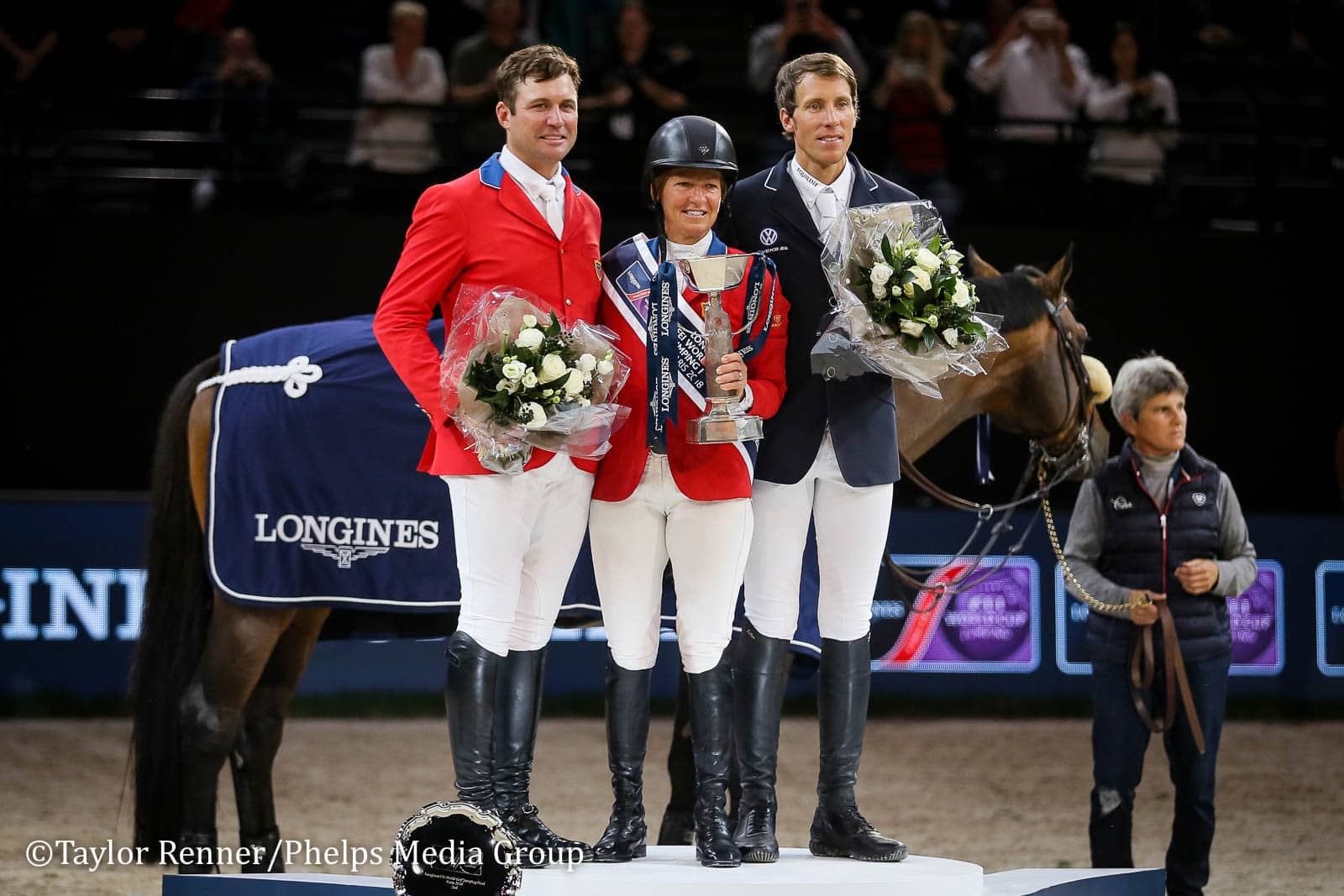 Devin Ryan (left), Beezie Madden (center) and Henrik von Eckermann (right)